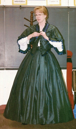 Sharon models a Civil War era day dress.