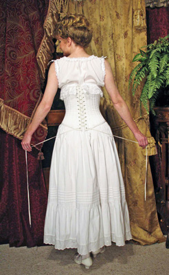 Corset, chemise, and petticoat