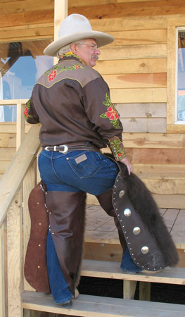 Buffalo Chaps back view on Coyote Calhoun