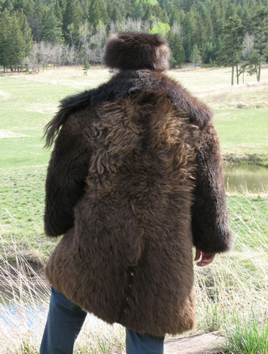 Buffalo Coat back view on Dr. Dave