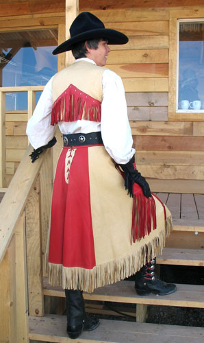 Back view of cowgirl outfit