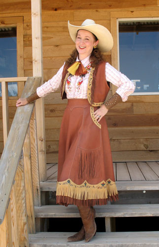 Miss Devon Dawson in painted cowgirl outfit