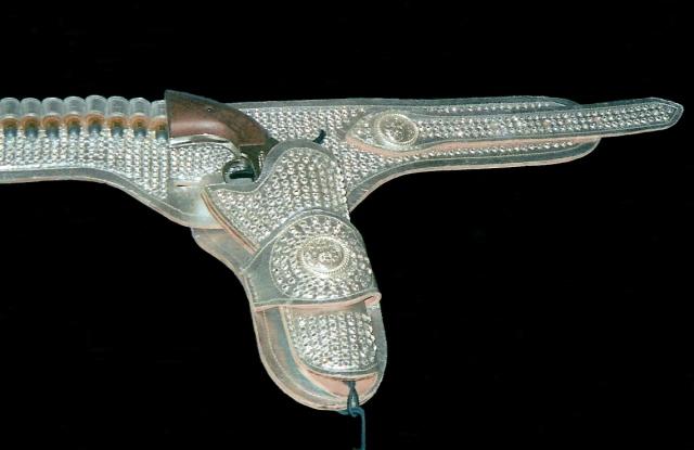 Rhinestone holster detail on gunbelt