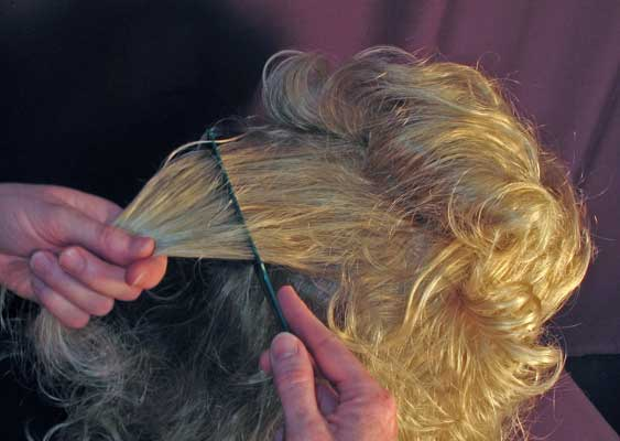 Combing a lock of hair from the underside.
