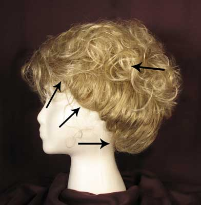 Photo showing placement of perimeter pins and anchor pins to hold your Victorian wig in place.
